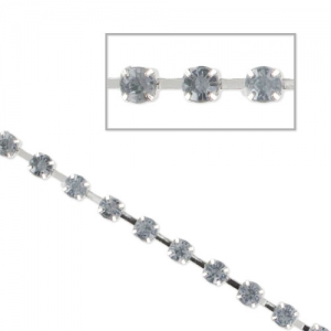 Cadena strass acrílico 3 mm Black Diamond rodiado  x1 m