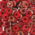 O Bead 4 mm Red Coral Sunset x5g