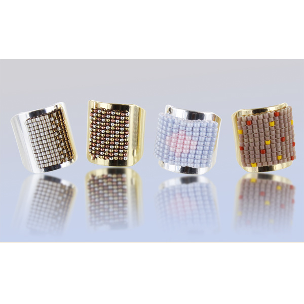 Anillo tejido de cuentas rectangulares Miyuki - Perles & Co