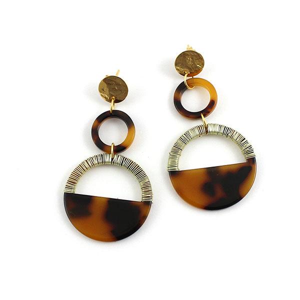 Pendientes de carey con alambre de cobre dorado - Perles & Co