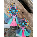 Bohemian earrings macramé Pompons and beads