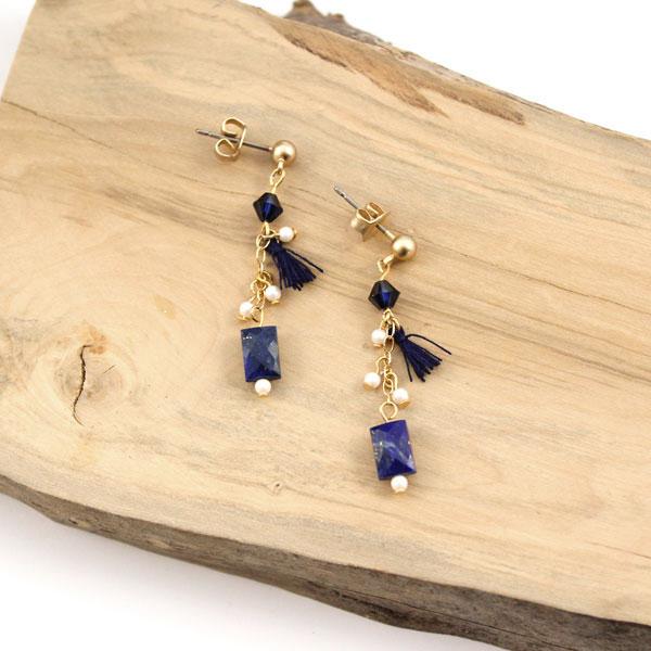 152f36e112ae Pendientes de lapislázuli y perlas de swarovski. - Perles   Co