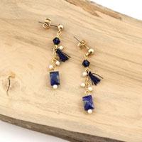 e108e5735975 Pendientes de lapislázuli y perlas de swarovski.