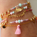 multi row Sorbet bracelet with golden pendants and seed beads