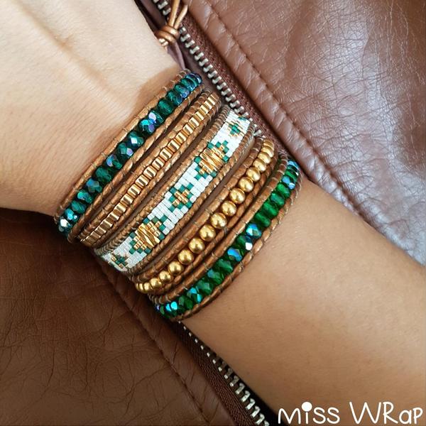 5f1d712b116b Pulsera de moda en color verde con piedras preciosas de ágata y perlas  Miyuki Delicas y