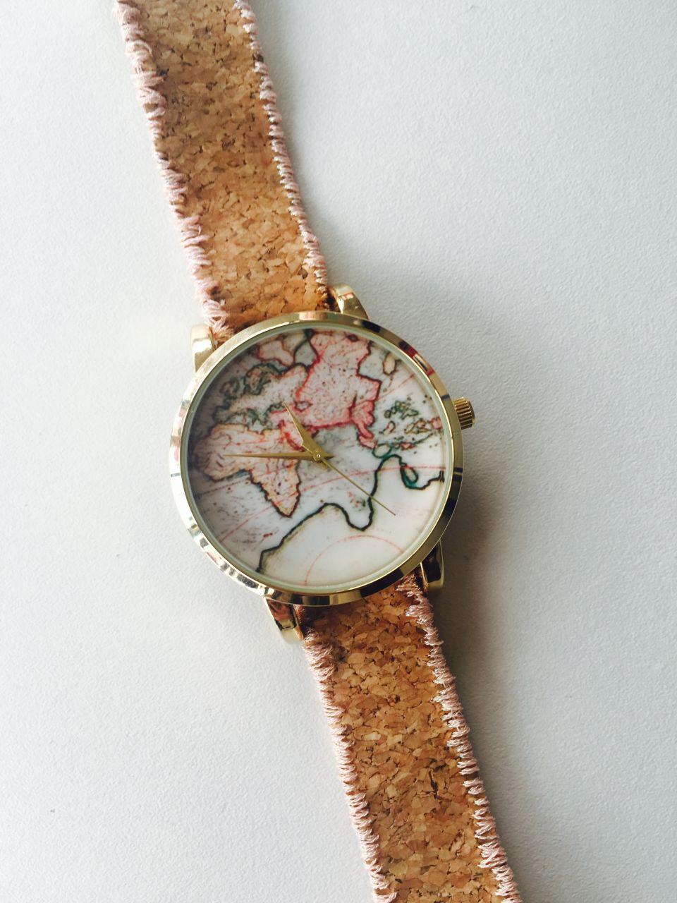 Reloj diy mapa del mundo bordada correa de corcho perles - Tela de corcho ...