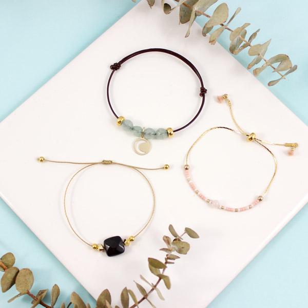 ajustables nudos deslizantes pulseras y gemas Miyuki - Perles & Co