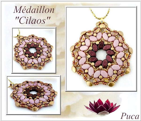 79cb314b8046 Collar de medallones Cilaos con perlas de vidrio Paros Minos y Kos de Puca
