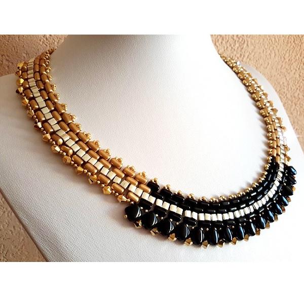 oro y collar de perlas negro con Rullas, Tapas de giro de cuentas ...