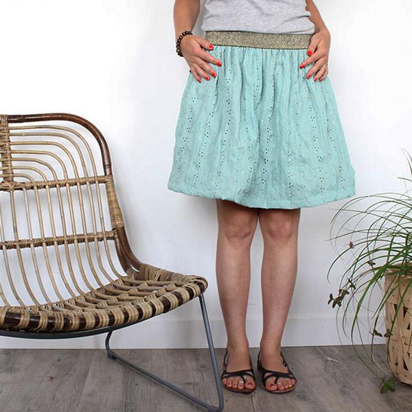 DIY coser falda fácil con tela de bordado inglés - Perles & Co