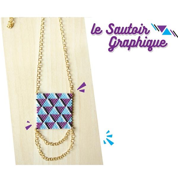 Collar tejido de ladrillo puntada patrón geométrico - Perles & Co