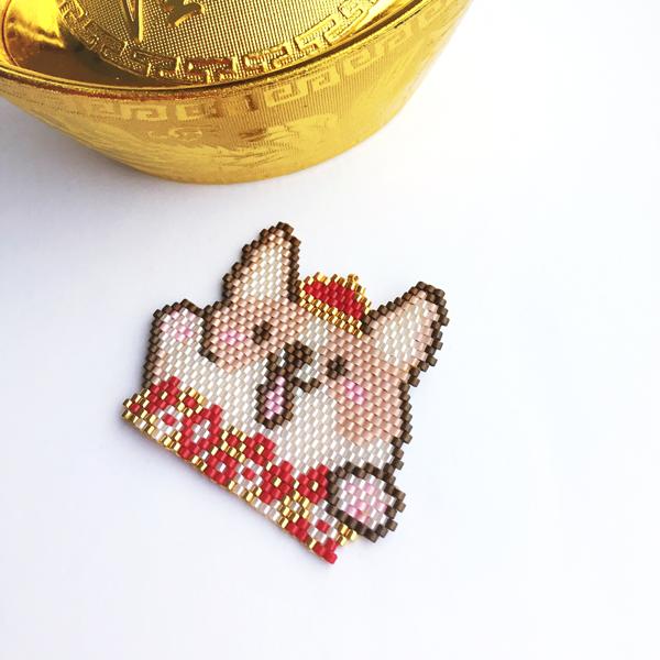 ladrillo patrón de tejido puntada china del Año Nuevo 2018 perro ...