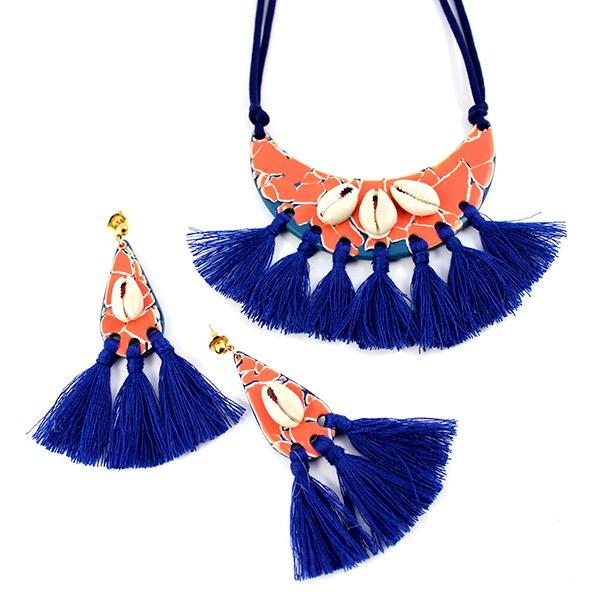 e4eb0d984d87 adorno pectoral y pendientes fimo color flamenco con caracoles ...