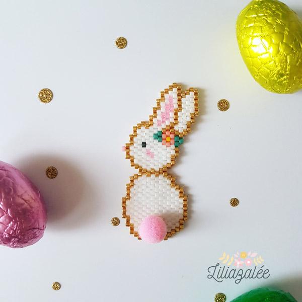 perlas de tejer brickstitch patrón de conejo Miyuki y borla ronda ...