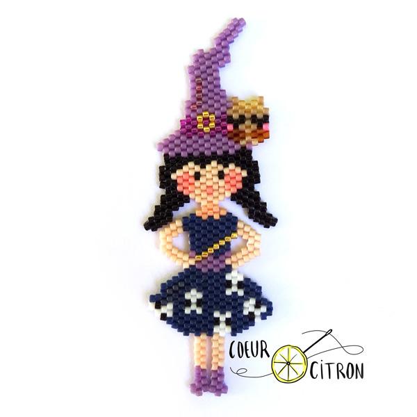 Ladrillo puntada bruja tejiendo perlas Miyuki con el corazón de ...