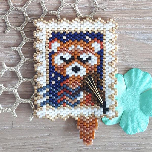 Sello de patrón de costura de ladrillo tejido Panda en cuenta de v ...