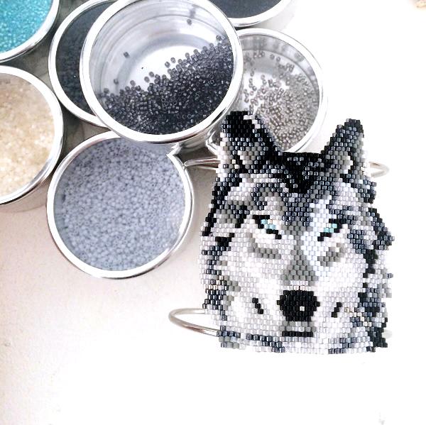 patrón de tejido de bricolaje perlas lobo brickstitch Miyuki ...