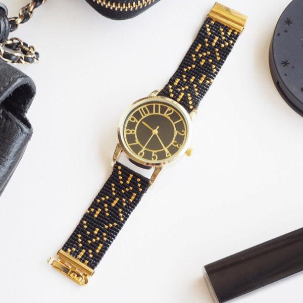 Reloj con pulsera tejida perlas de Miyuki telar - Perles & Co