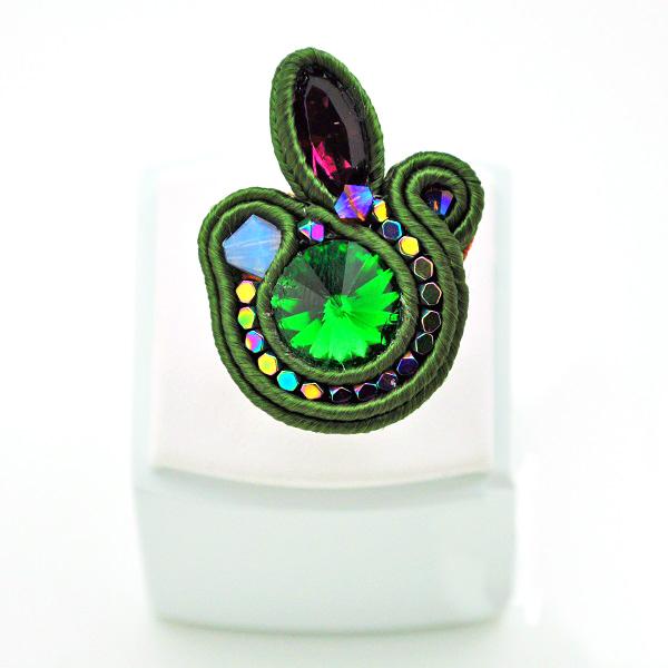 anillo de la trenza con cabujón y hematita Swarovski - Perles & Co