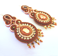Earrings with soutache and Swarovski crystals