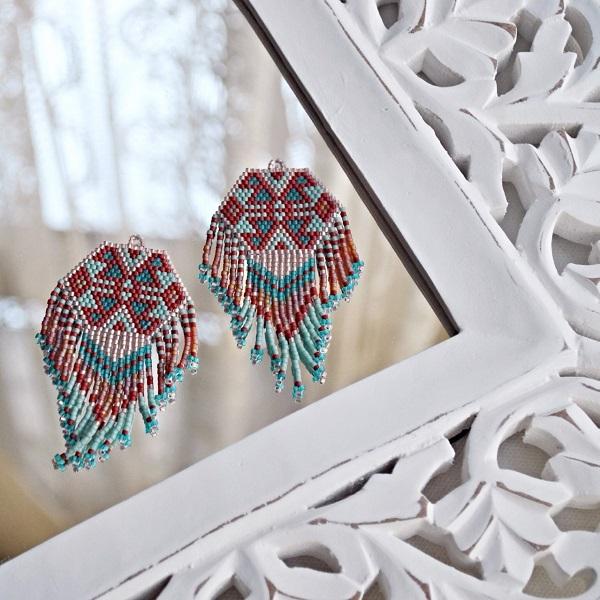 Pendientes de perlas tejidas estilo Miyuki Delicas nativo americano ...