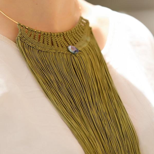 Tejiendo Caqui Macramé Collar Con Hilo De Nylon Trenzado Y Swarovski Perles Co