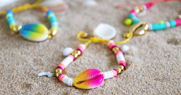 d4905ab63dff Pulseras de colores de verano con arandelas Heishi y conchas de ...