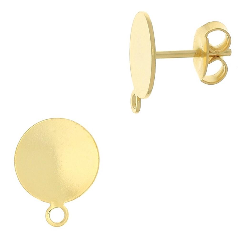 e41272f96e92 Pendientes con trasera disco 12 mm para hacer tus propias piezas de Joyería  y bisutería dorado x2