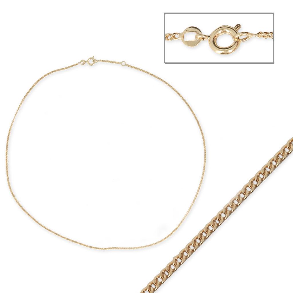 427258e2dae1 Collar gargantilla cadena eslabón esclava - De Fabricación Europea - 1.6 mm  Chapado de Oro 3 micras x45 cm