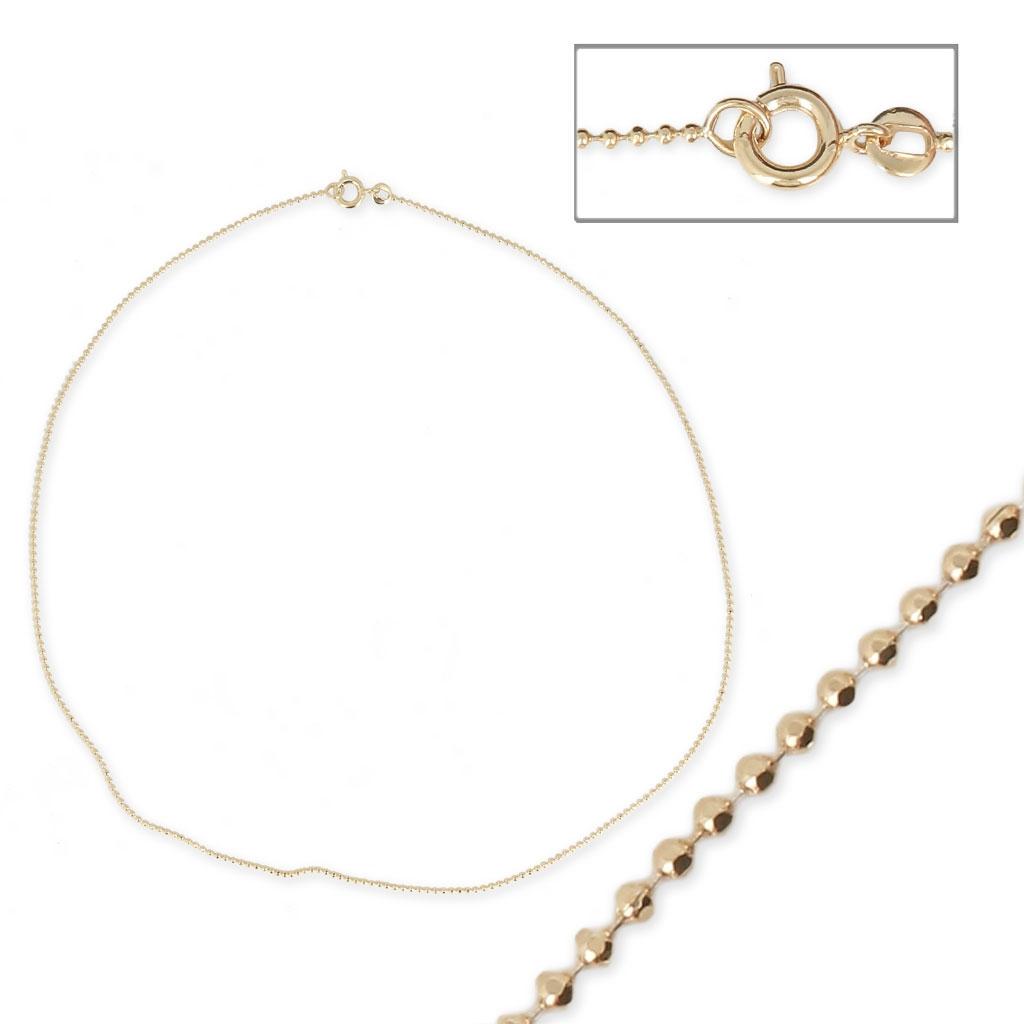 Collar gargantilla cadena eslabón bola 1.3 mm Chapado de Oro 3 ...