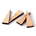 Colgantes triangulares 40x14.5 mm de madera en bruto natural x10