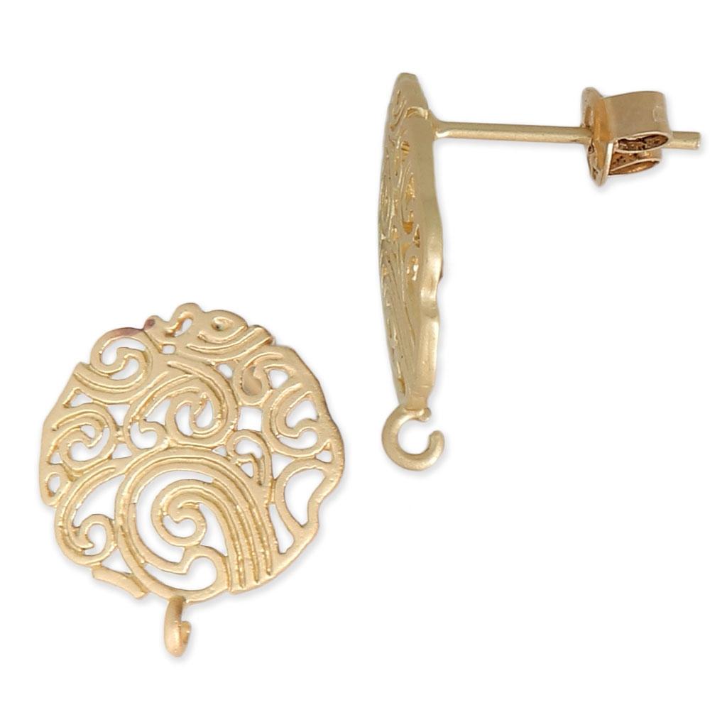 fd7cea60bfba Pendientes filigranas con anillla 14.7 mm dorado mate x2 - Perles   Co
