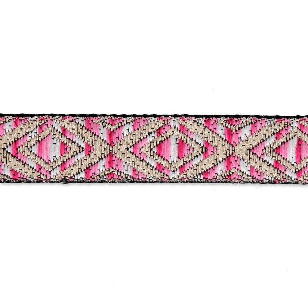 Galón bordado 18 mm Rosa/Dorado x50cm - Perles & Co