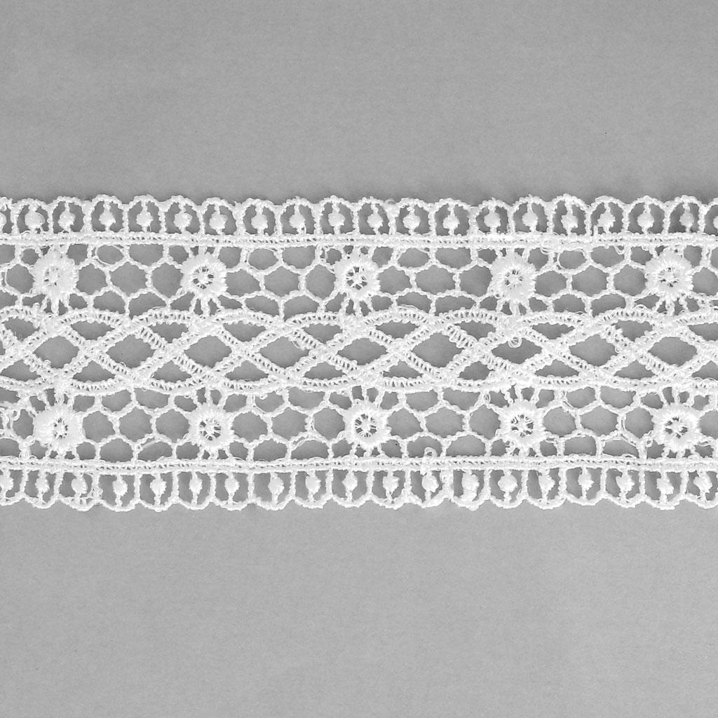 Cinta encaje motivo Espiral/Flor 50 mm Blanco x1m - Perles & Co