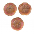 Cuentas de vidrio Hawaiian Flowers Beads 12mm Opaque Rosa Travertin x10