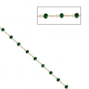 b825ac14f5f7 Cadena con cuentas facetadas de vidrio 2.95 mm Dorado satinado Emerald x1m  ...