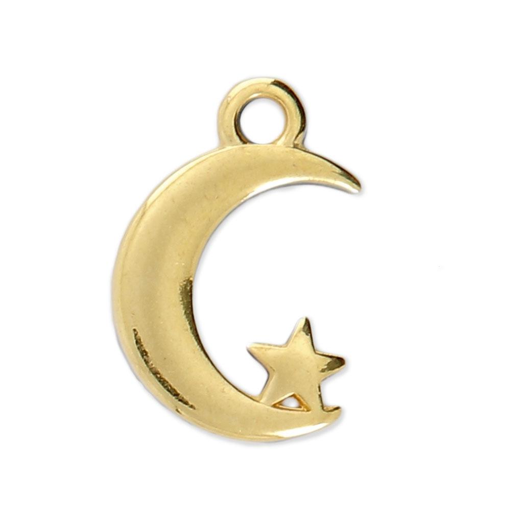 Dije medialuna y estrella 17x11 mm dorado x1 - Perles & Co