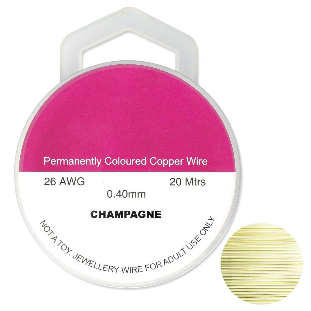 7af160ee3fcd Hilo de cobre para hacer piezas de Joyería y bisutería 0.40 mm Champagne  x20m