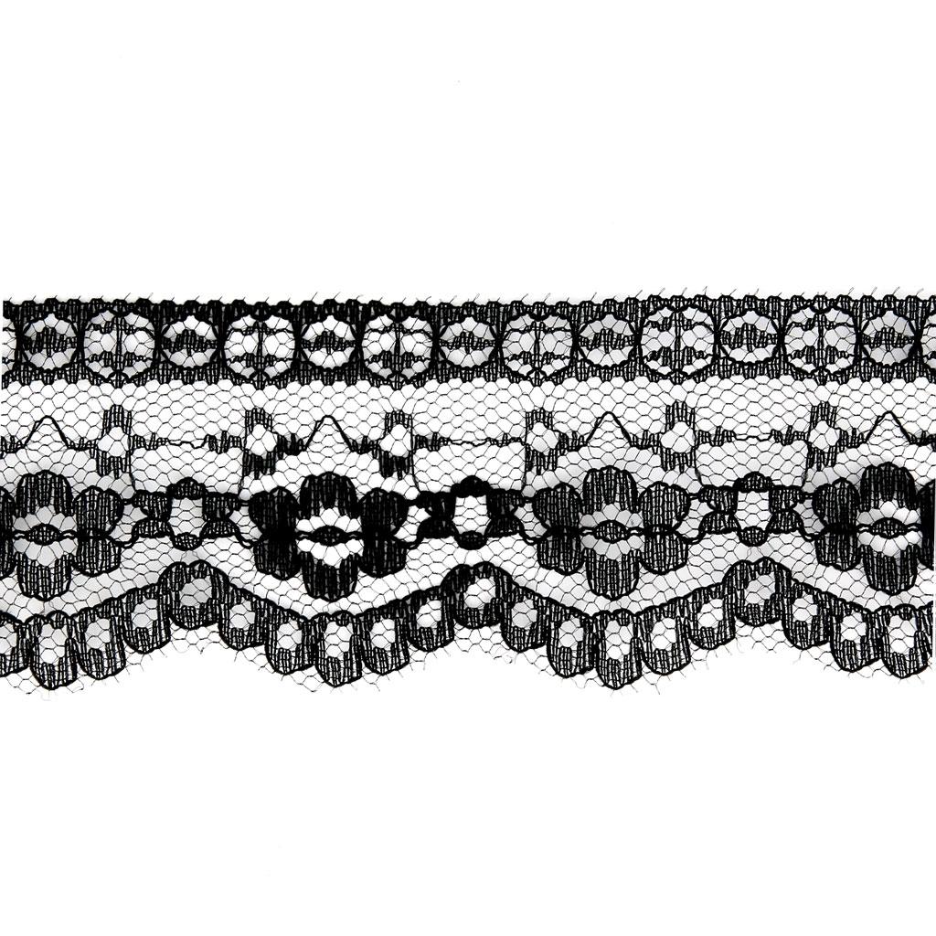 Cinta de encaje Rachel diseño Flores 52 mm Negro x1m - Perles & Co
