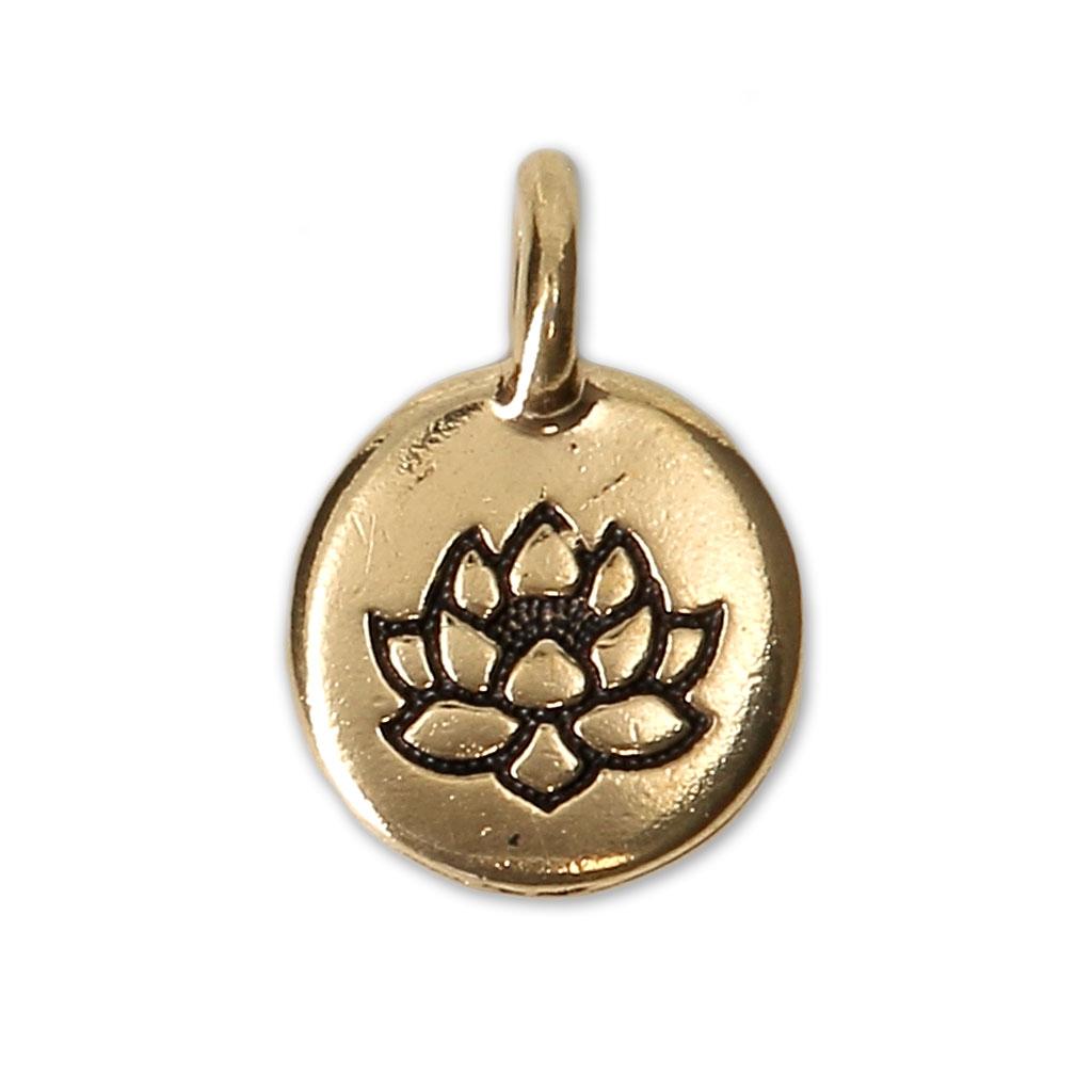 77fc763bcf82 Dije medalla redondo motivo diseño flor de loto 11.5 mm dorado envejecido x1