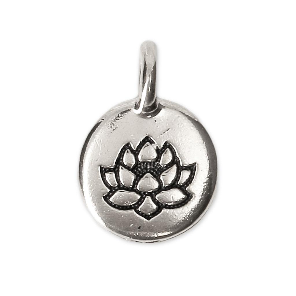 20f72960dd6c Dije medalla redonda motivo diseño Flor de loto 11.5 mm plateado envejecido  x1
