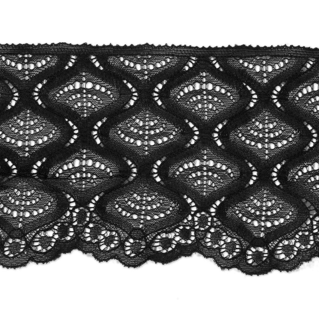 Cinta Encaje Rachel motivo Espiral 90 mm Negro x1m - Perles & Co