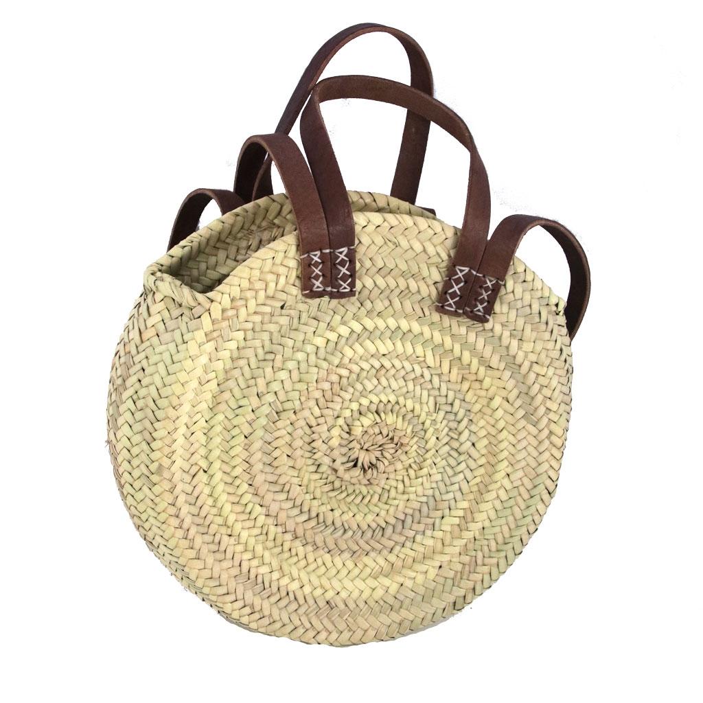 Bolso de paja redondo trenzado y cuero 30 cm Natural x1 - Perles & Co