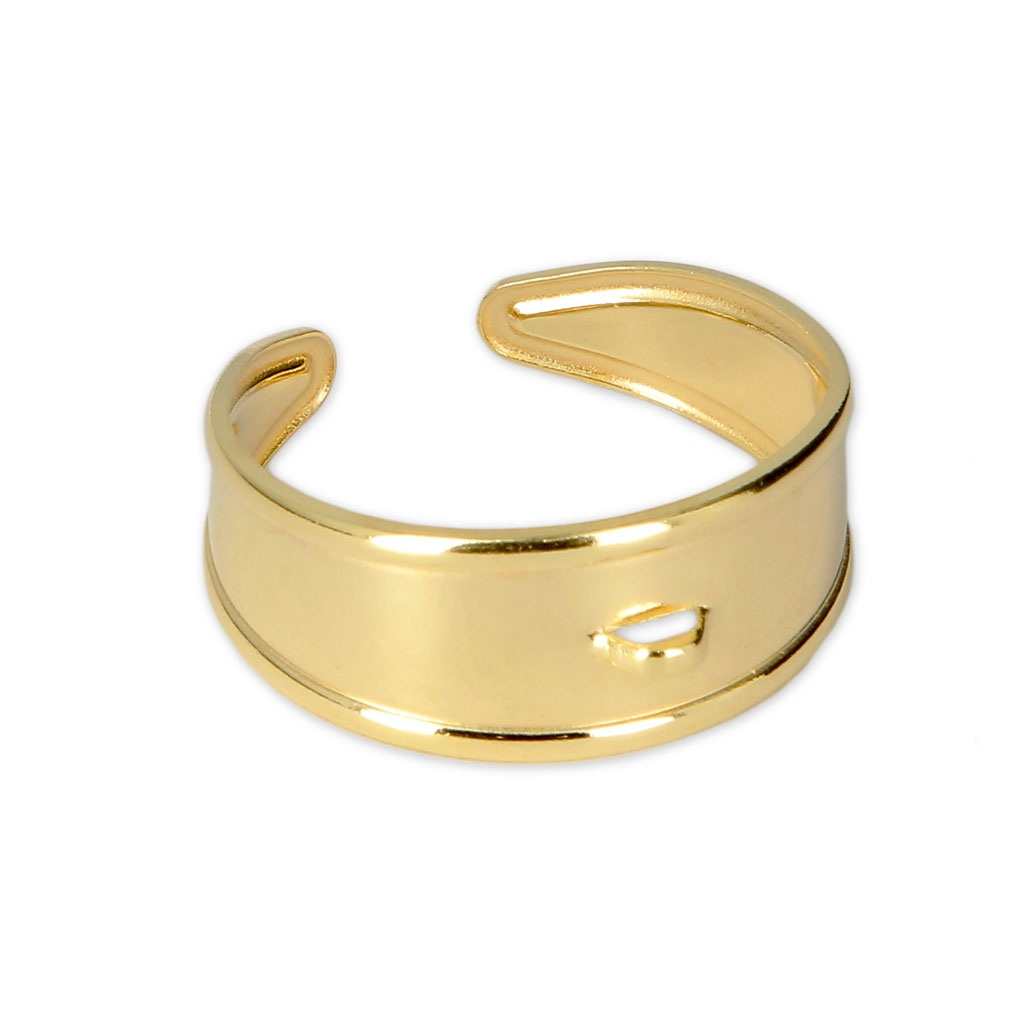 Anillo ajustable ancho 1 anilla de bronce Chapado de Oro 3 micras . 0431f541d73