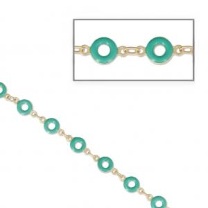 959c29e79c68 Cadena donuts resina epoxi 6.60 mm dorado mate Green Turquesa x 50cm ...