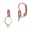 d8874f2407ae Pendiente gancho con anilla para cabuchón fondo plano 6x8 mm dorado rosa HQ  x2