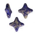 Cuentas abalorios Star Beads by Perles and Co 11x11mm Op Sapphire Gold Splash x30