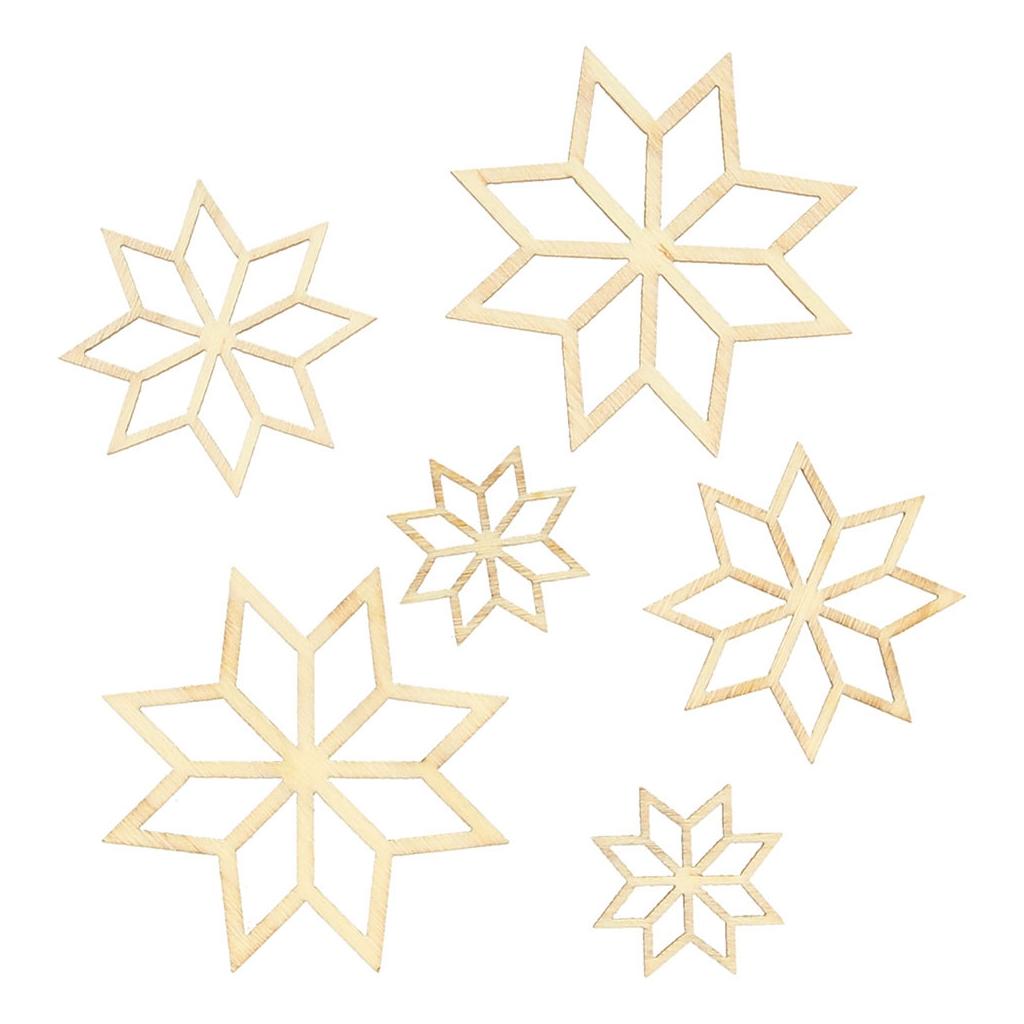 Surtido adornos Copo de nieve de madera Natural x31 - Perles & Co