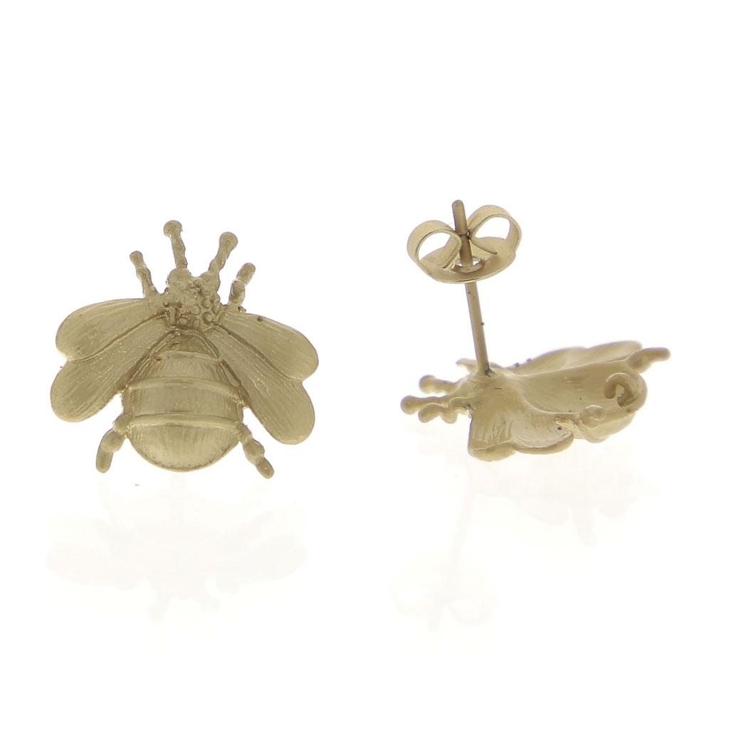 Ganchos pendientes abeja con anillla a decorar de latón 16 mm dorado ...