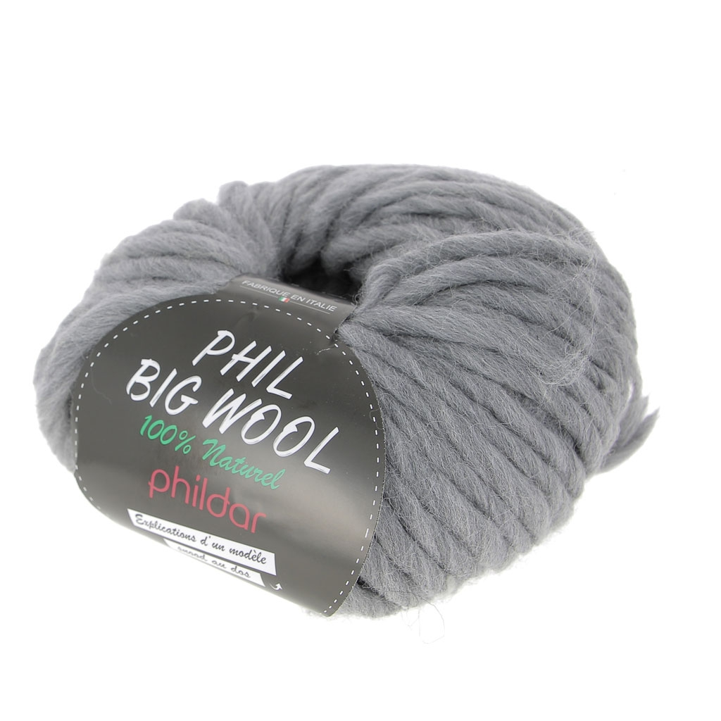 233d9aa30c537 Lana Phil Big Wool - 100 % Natural - Color Acero x100g - Perles   Co